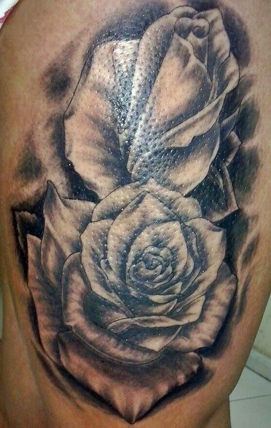Rose tattoo black and gray