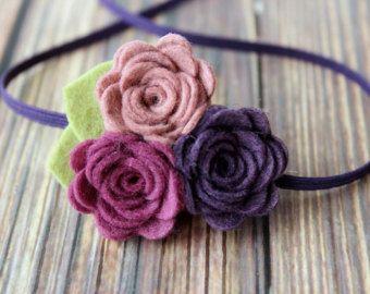 Fall felt flower garland headband - baby flower headband - newborn/baby/toddler…