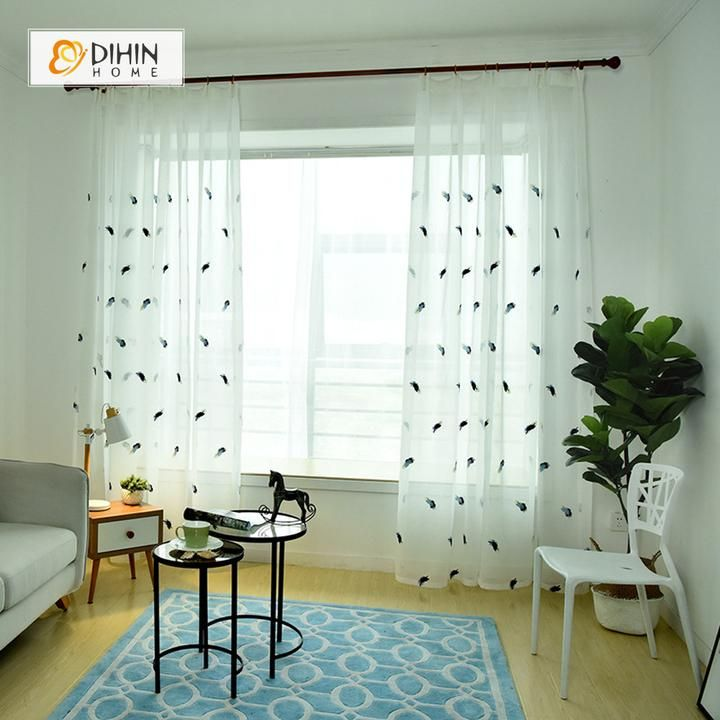 Dihin Home Feather Embroidered Sheer Curtain Blackout Grommet Window Curtain For Living Room 52x63 Inch 1 Panel With Images Curtains Living Room Sheers Curtains Living Room Curtains