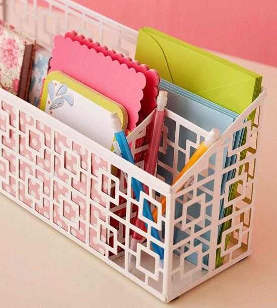 Stash everything you need to accomplish a task in one designated area. Perfect for storing small items, this letter holder adds a burst of style to the desktop and keeps colorful stationery on hand for jotting a quick note.