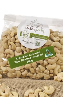 TwinsPantry - Roasted Unsalted Cashews. Slowly roasted, our freshly picked Australian cashews are locked in that simple yet moreish taste that everyone loves!