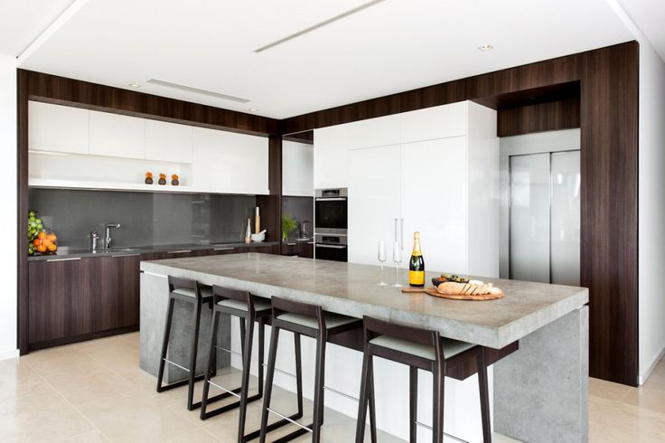 Architecture: Kitchen Island With Granite Countertop And Bar Stools And White Tile Flooring Kitchen Cabinet And Sink And Kitchen Faucet White Ceiling Modern White Refrigerator: Family House - Timeless Luxury House Gathering Waterside Panoramas