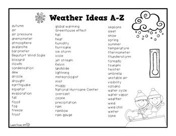 Weather A-Z Book | Weather words, Z book, Teaching