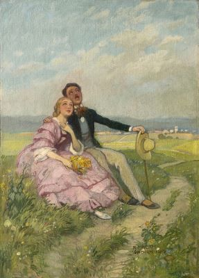 Richard Mauch (1874-1921) Romantic sunday, oil on canvas. Collection Simonis & Buunk, The Netherlands