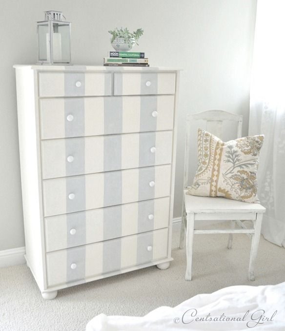 Gray and white striped distressed dresser makeover.