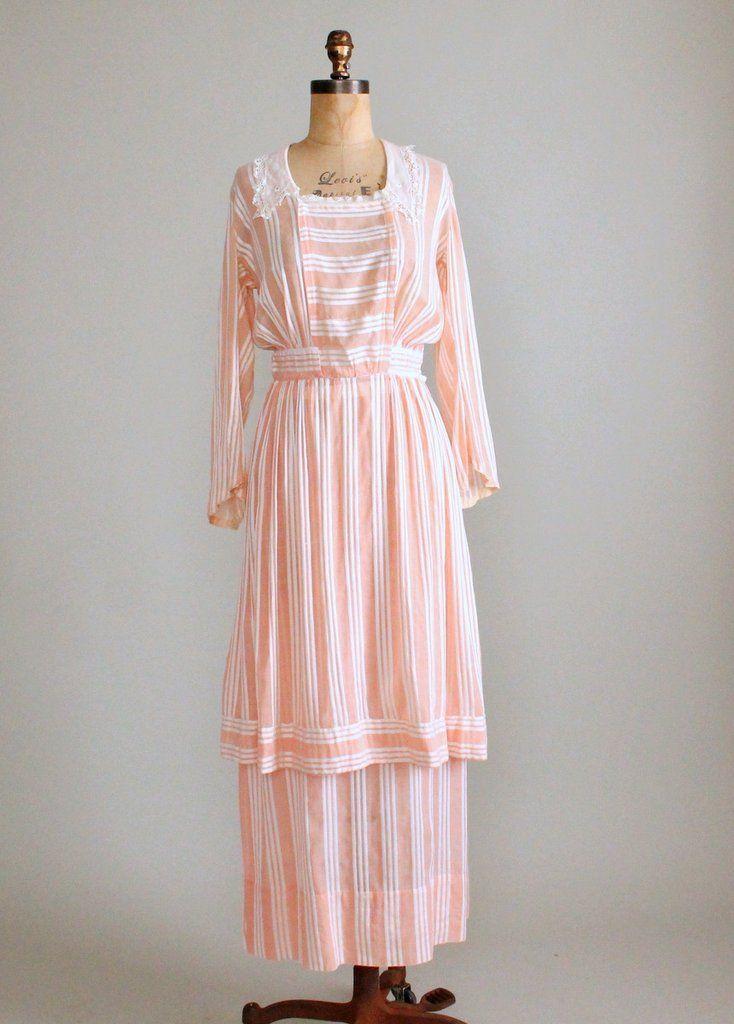 Antique 1910s Peach Striped Cotton Blouse and Bustle Skirt Dress