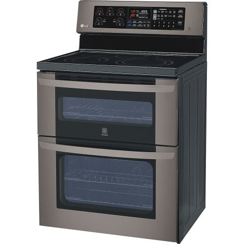 #LimitlessDesign and #Contest Priced from BesyBuy LG - 6.7 Cu. Ft. Freestanding Double Oven Electric Convection Range - Black Stainless Steel - Left Zoom