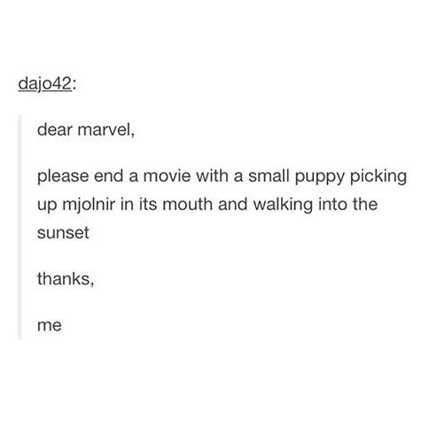 Or like Thor flings it and this little puppy just runs after its MjolnirStick