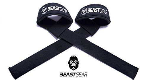 From 7.97 Beast Gear Weight Lifting Straps - Professional Standard Padded Straps With Advanced Gel Flex Grips