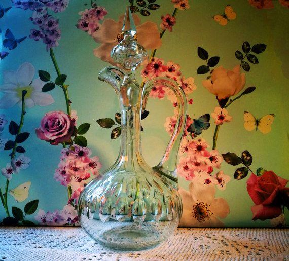 Antique Claret jug, Victorian Claret decanter, Wine decanter, Vintage glass decanter, Vintage decanter, Vintage bar, Vintage barware