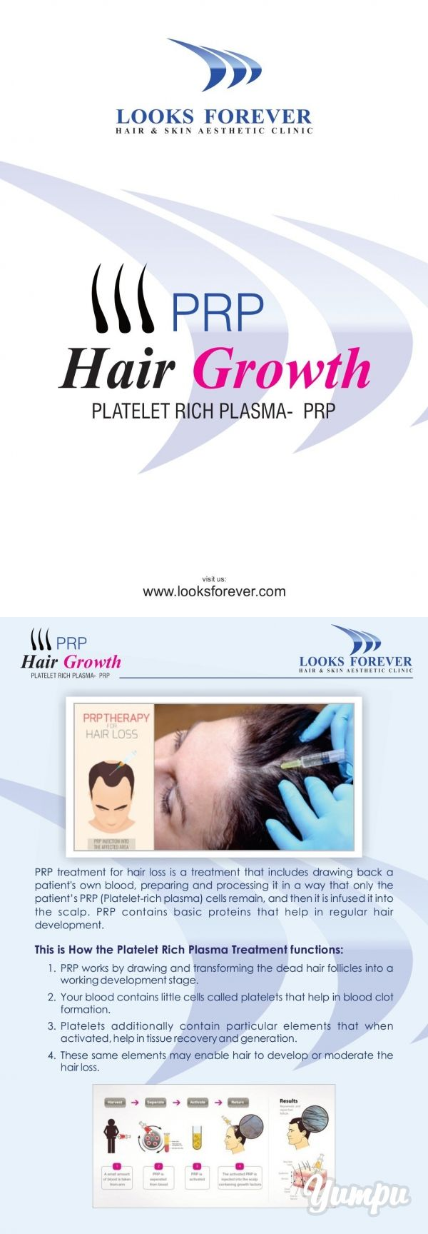 PRP Hair Regrowth (Platelet Rich Plasma)  - PRP treatment for hair loss is a treatment that includes drawing back a patient's own blood, preparing and processing it in a way that only the patient's PRP (platelet-rich plasma) cells remain, and then it is infused it into the scalp. PRP contains basic proteins that help in regular hair development.  PRP therapy offers the opportunity for hair growth for those patients who are not candidates for surgery or those patients wanti