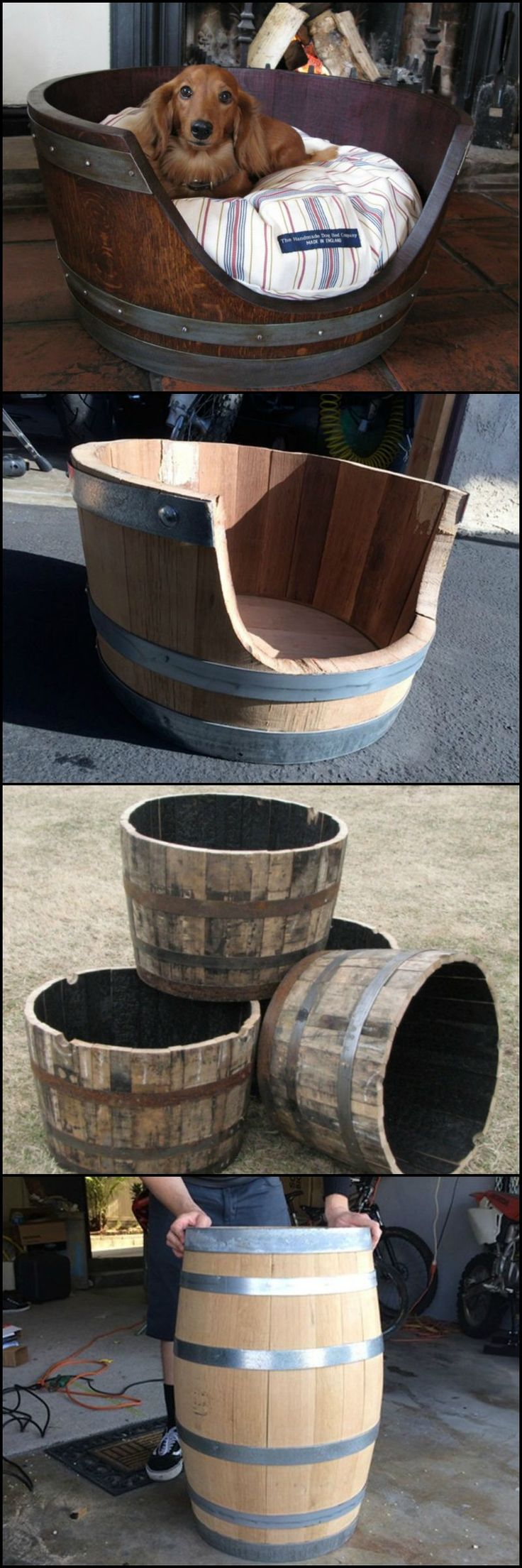Wine barrel dog bed