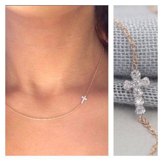 Solide 14k gold-Diamant-Kreuz Halskette-seitwärts Kreuz