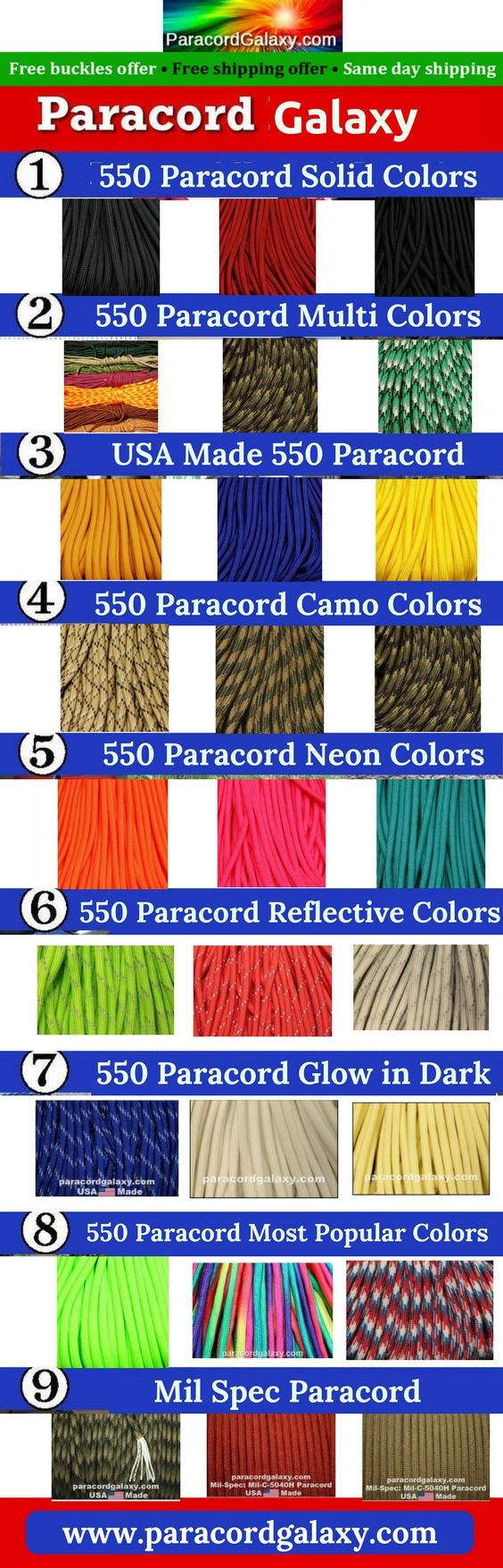 Paracord Galaxy is the best place to shop paracord online! All types of paracords are available with wide variety of length like 550 Paracord, Paracord Bracelets, Skull Beads, Buckles, Shackles and more.  #Paracord