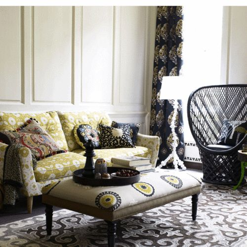 love: Colors Combos, Colors Patterns, Living Rooms, Idea, Couch, Interiors Design, Mixed Prints, Window Treatments, Wicker Chairs