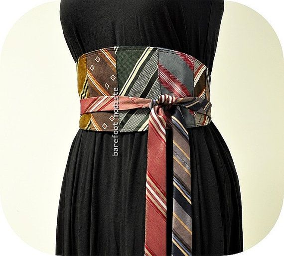 Vintage Necktie Patchwork Obi Belt, One of a Kind art to wear, Unique Reclaimed Recycled Ties, Corset tie belt, Barefoot Modiste Handmade