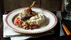 BBC Food - Recipes - Confit duck leg with flageolet ragoût and celeriac mash