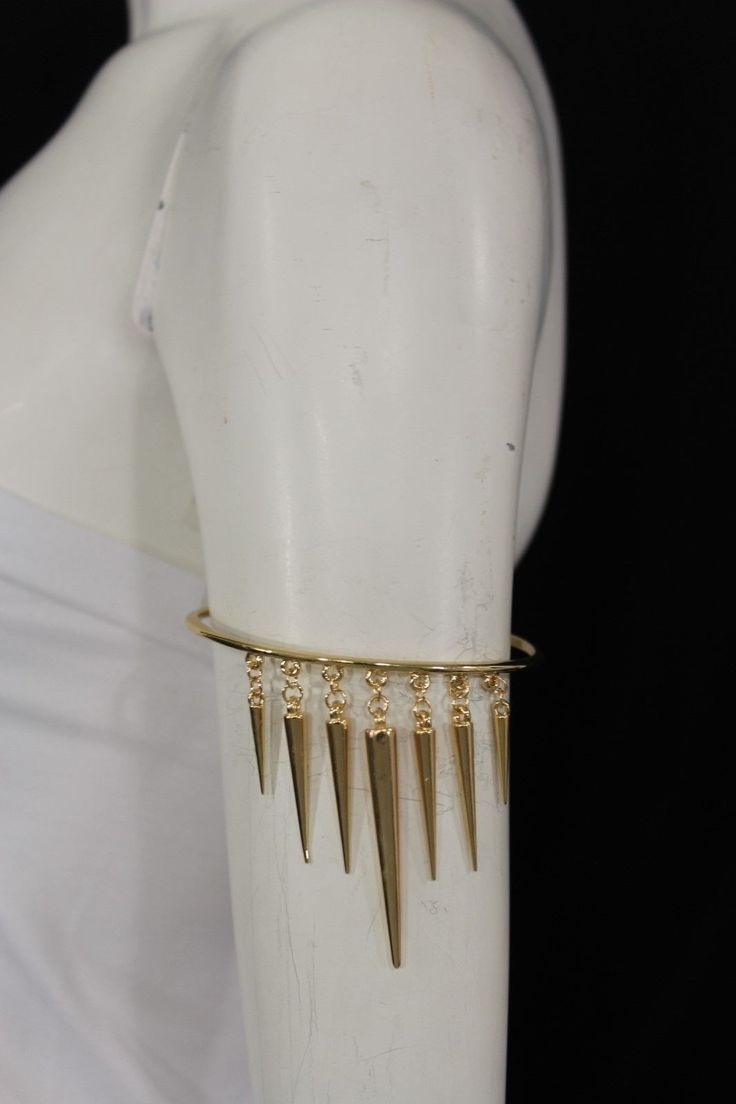 Gold Metal Arm Cuff Body Bracelet Fashion Long Spikes Fringe Armband Women Accessories Necklace