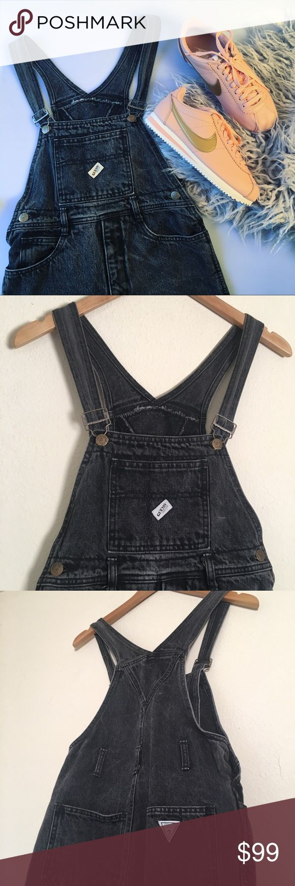 Vintage Guess Overalls Small Amazing charcoal/black Guess jeans overalls from the 90s. Vintage runs small. Great used condition. Measurements when laid flat: inseam 22 inches, waist below the belt line 15 inches, length from the front rim to the crotch is 19 inches. The straps are adjustable. Will consider reasonable offers. Guess by Marciano Jeans Overalls