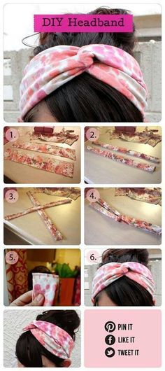 Cute no-sew headbands. Use an old t shirt or scrap jersey fabric, Even when it is no sew, I sew.