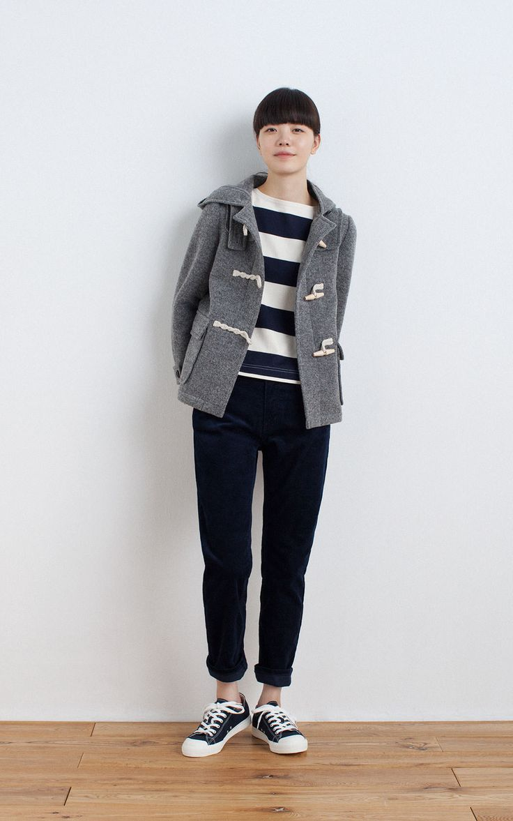 MUJI | WOOL MIX KNIT SHORT DUFFLE COAT | OGC WIDE COUNT DROP SHOULDER 3/4 SLEEVE T SHIRT | OGC STRETCH CORDUROY BF ANKLE LENGTH TROUSERS | WATER REPELLENT ORGANIC COTTON SNEAKERS