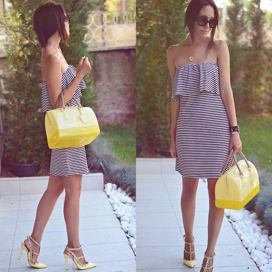 Furla Bag, Shoebutik Heels, Prada Sunnies, Modada2el Dress