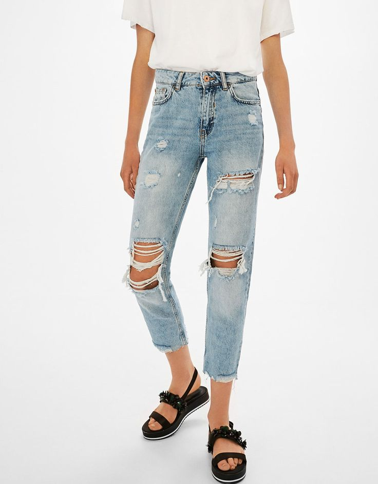 Ripped cigarette jeans - Jeans - Bershka United States
