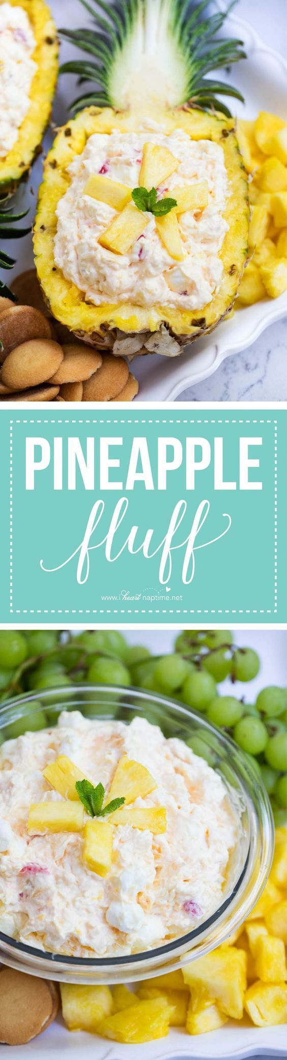 No bake pineapple fluff dessert made with only 5 simple ingredients. A quick and easy salad that is great for any occasion. So creamy and perfect for summer!