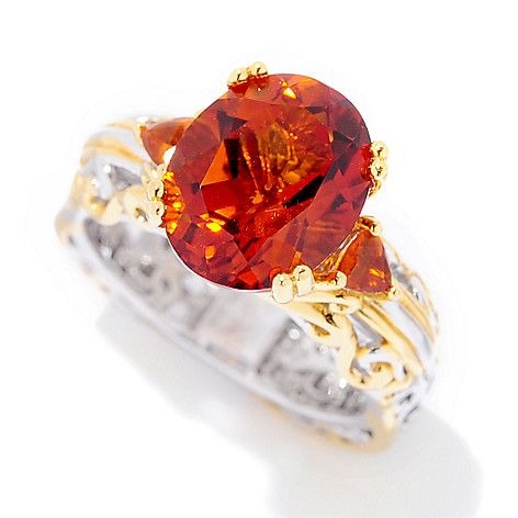 156-208 - Gems en Vogue 3.50ctw Rio Grande Multi Citrine Euro Shank Ring