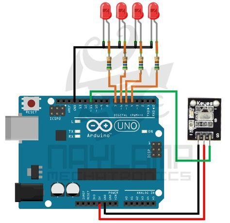 Conexion arduino leds y receptor IR