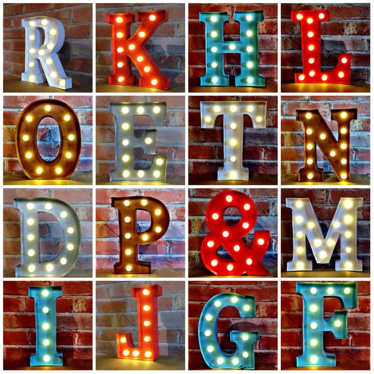 Metal LED 12 Marquee Letter Lights Vintage Circus Style ...