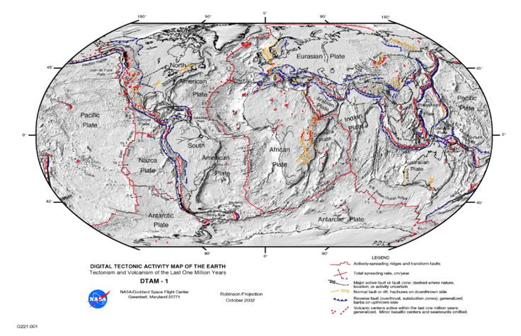 Plate tectonics map from NASA