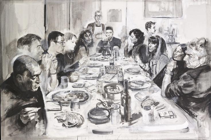 compagnia milanese -  ritratto di gruppo dipinto da Francesco Santosuosso . da sinistra: FRANCESCO BUONAFINA, ENRICO GRISANTI, ALBERTO CASSOLI, GRAZIA D'ADDA,LUIGINA CATANZARO, PIERO ERA, MASSIMO MORETTI, RAFFAELLA SCOTTI, CLAUDIO DALL'ASTA, ANNA STERNFIELD, MARIAGRAZIA GIAMPIERETTI, LUCIANO MANINI
