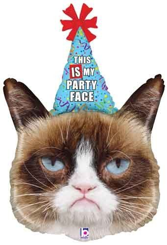 "36"" Grumpy Cat Party Face Shape Birthday Mylar / Foil Balloon Single Source Party Supplies"