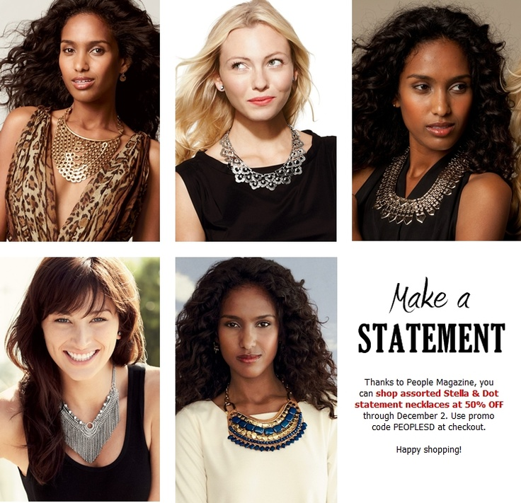 Shop assorted Stella & Dot statement necklaces at 50% OFF through Dec. 2, 2012! Use promo code PEOPLESD at checkout.