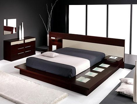 Stylish-bedroom-in-dark-wood-with-wood-furniture-and-white-cover