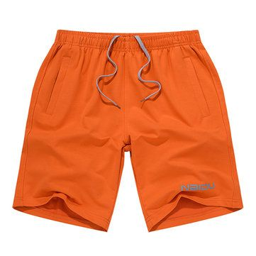 Summer Mens Casual Sports Shorts Loose Knee Length Solid Color Cotton Shorts at Banggood