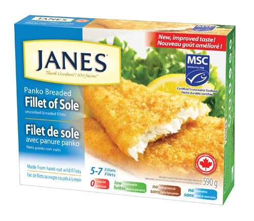 Janes Fillet of Sole, now with a new, improved taste! Our certified sustainable wild-caught whole fillets are wrapped a light panko breading, with a hint of lemon. Crispy on the outside, light and flaky on the inside.
