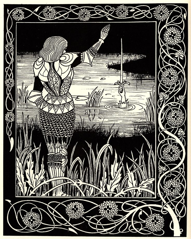 Beardsley 1872-1898, Aubrey, England How Sir Belvidere cast thesword Excalibur into the water