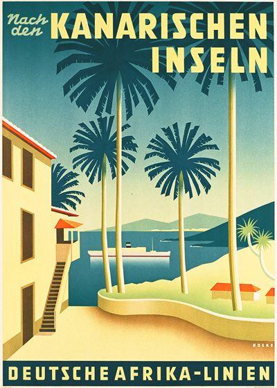 Nach den Kanarischen Inseln - Deutsche Afrika-Linien by Henning Koeke 1939 :: Islas Canarias #vintage #tourism #poster