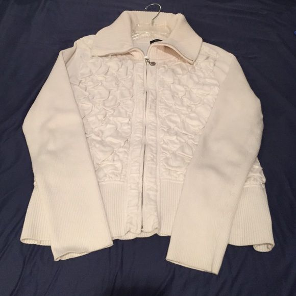 White House Black Market cream zip up sweater. Lightly used cream zip-up WHBM sweater.  Still has all pearl beads.  No holes or stains. White House Black Market Sweaters