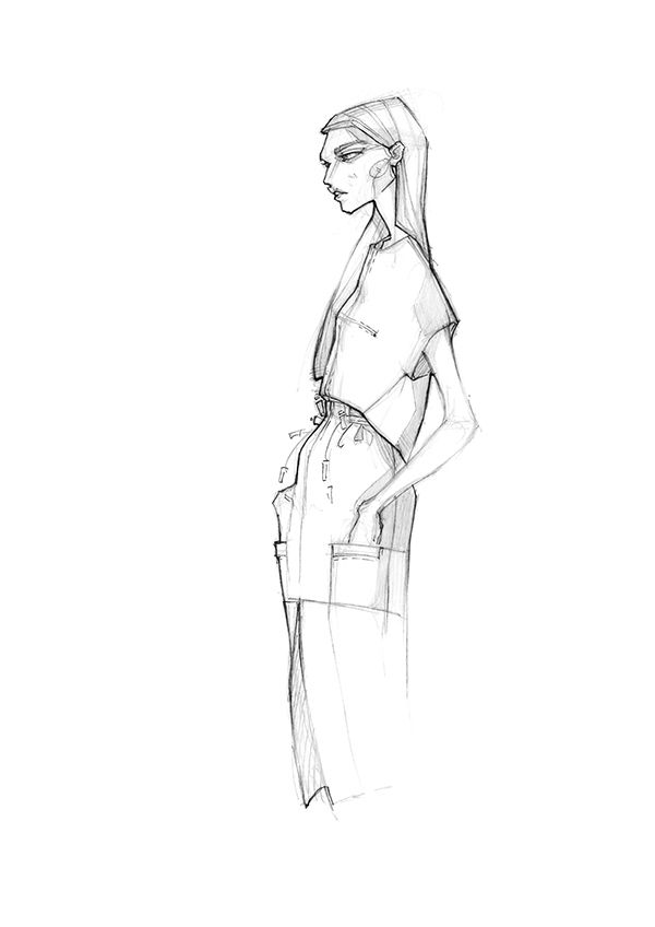 Fashion illustration - fashion sketch; fashion design drawing // Milan Zejak
