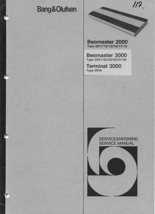 Bang & Olufsen Service Manual for  Beomaster 2000(type 2911,2912,2913,2914,2915,2917,2919) Beomaster 3000(type 2931,2932,2933,2934,2935,2937,2939)  DOWNLOAD