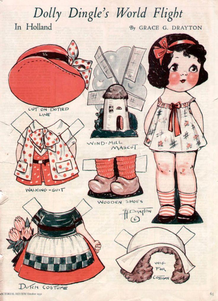 World Flight Holland  Bonecas de Papel: Dolly Dingle Paper Dolls