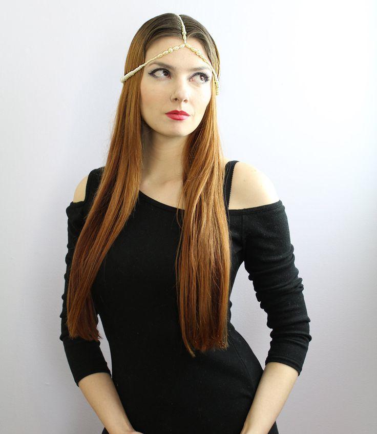 Boho Hippie Pearl Wedding Hair Head Dress Jewelry Valentine's Day Gift (28.00 USD) by LeafLee