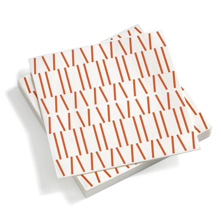 Vitra - Paper Napkins large, Broken Lines red orange