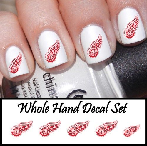 Pinterest detroit red wings nails hair and makeup detroit red wings nail decals prinsesfo Choice Image