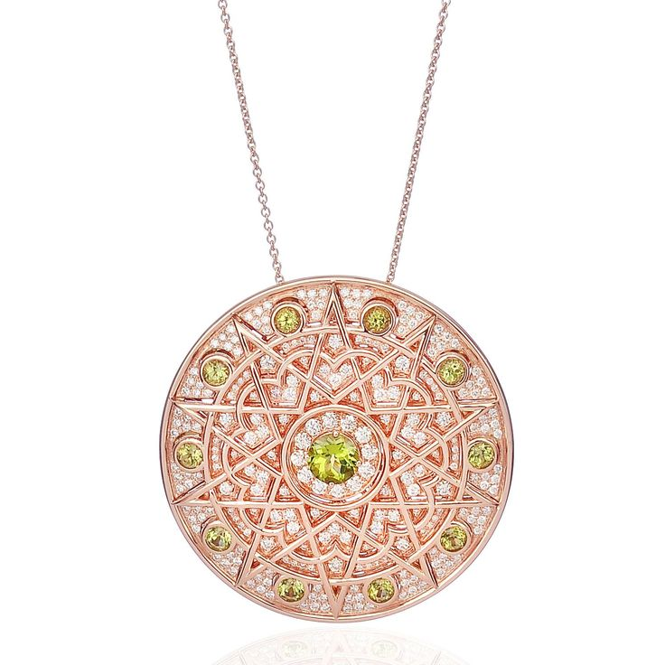 Lily Gabriella's one-of-a-kind Damali jewels capture the mystic beauty of arabesque forms, here in a rose gold pendant set with peridots and diamonds. Discover Lily Gabriella's fashionable and versatile jewels for fashion forward ladies: http://www.thejewelleryeditor.com/jewellery/article/lily-gabriella-pop-up-shop-harvey-nichols/ #jewelry