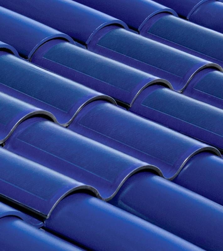 Blue, curved solar tiles (ArchitectureWeek Image)