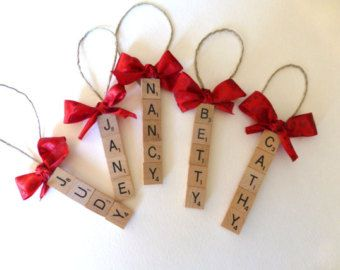 Set of 5 CUSTOM scrabble tile ornaments, up to 5 letters per ornament, gifts for coworkers, neighbor gifts, scrabble fans, game night